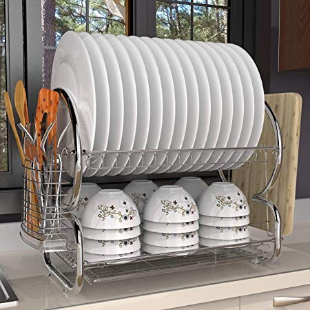 Kitchen 2 Tiers Dish Drainer Drying Rack Storage With